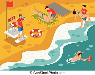 Beach Lifeguards Isometric Composition