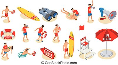 Beach Lifeguards Isometric Icons