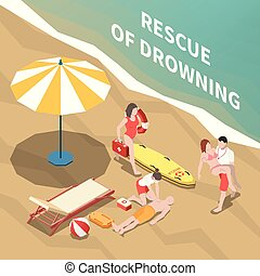 Beach Lifeguards Isometric Illustration