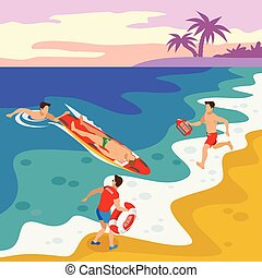 Beach Lifeguards Isometric Poster