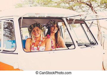 Beach Lifestyle Surfer Girls in Vintage Surf Van