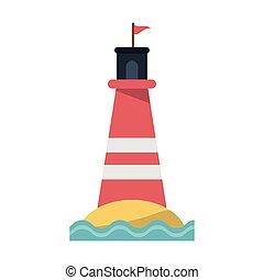 Beach lighthouse symbol