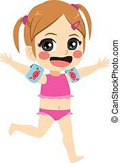 Beach Little Girl Running