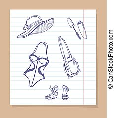 Beach look sketch icons