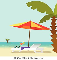 Beach lounge chair near sea and sun umbrella and palm vector illustration, flat cartoon seafront resort landscape with beach sand and island on horizon, concept of vocation travel relax place