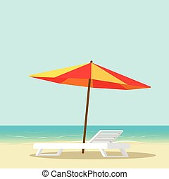 Beach lounge with empty chair near sea and sun umbrella vector illustration, flat cartoon seafront resort landscape with beach sand, idea of vocation travel relax place image