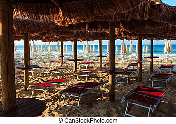 Beach Maldives of Salento, Pescoluse, Puglia, Italy -...