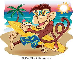 Beach Monkey - A monkey with a surfboard strolling the beach