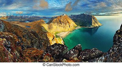 Beach, mountain landscape Norway - Lofoten
