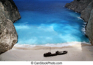 beach Navagio in Zakynthos, Greece