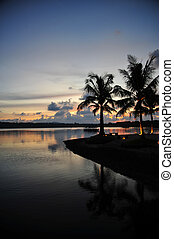 Beach of a resort at sunset