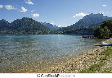Beach of Annecy's lake