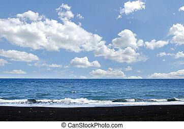 Beach of Bali, Indonesia - Black sand in beach of Bali
