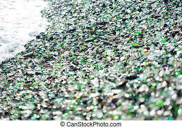 Beach of glass pebble - Beach fully covered with...
