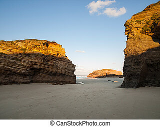 Beach of Las Catedrales or As Catedrais, Ribadeo, Galicia, Spain in a sunny afternoon