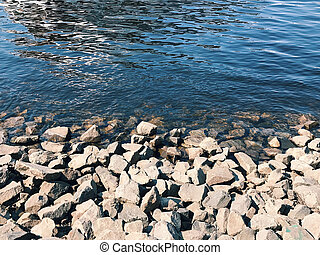 Beach of river with cool stones