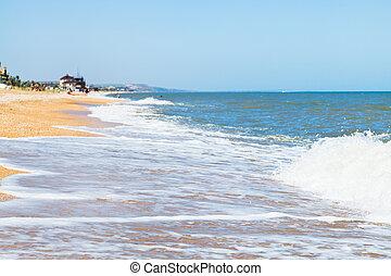 beach of Sea of Azov in resort town Golubickaya - sand and...