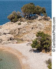 Beach of Sveti Blaz on a sunny day in spring