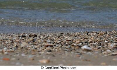 Beach of Tel Aviv. - Waves and stones on the beach of Tel...