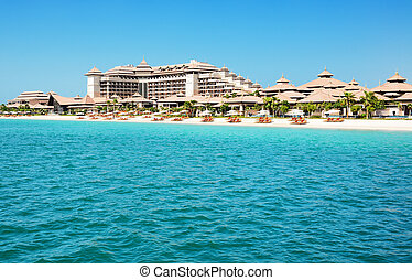 Beach of the luxury Thai style hotel on Palm Jumeirah man-made island, Dubai, UAE