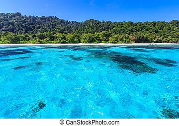 Beach of tropical crystal clear sea, Ta Chai island - Beach...