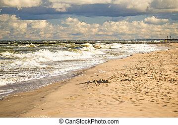 beach of Ustka, Baltic Sea, Poland