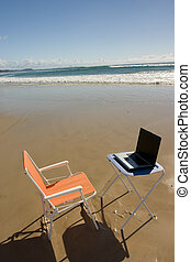 Beach Office 1 - Outdoor Office with laptop