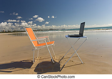 Beach Office - Outdoor Office with laptop