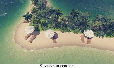 Beach on a heart shaped island