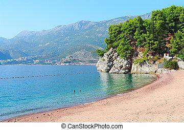Beach on Budva coast near island of Sveti Stefan, Montenegro
