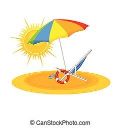 beach on color vector illustration