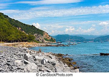 Beach on Palmaria Island - Liguria Italy - Beach with cliffs...