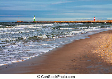 Beach on shore of the Baltic Sea in Warnemuende, Germany.