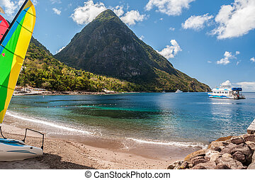 beach on St. Lucia with view at the Petit Piton
