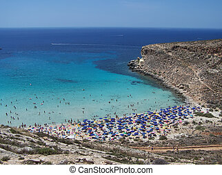 beach on the island of rabbits. Lampedusa- Sicily
