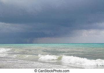 Beach on the Mediterranean in a cloudy day