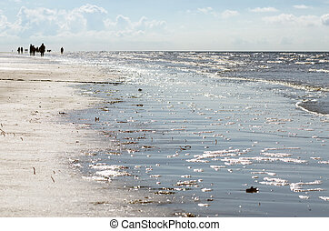 beach on the North Sea at Sankt Peter-Ording - walk at the...