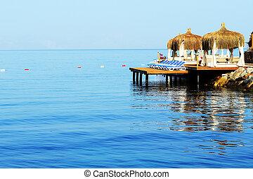 Beach on Turkish resort, Bodrum, Turkey