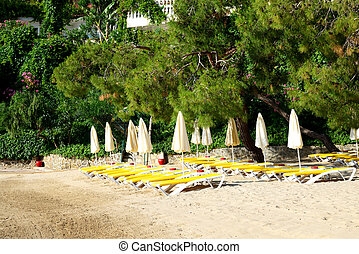 Beach on turkish resort, Fethiye, Turkey