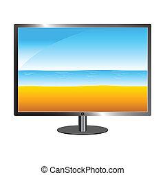 beach on tv vector illustration