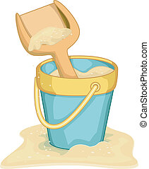 Beach Pail - Illlustration of a Miniature Pail and Shovel on...