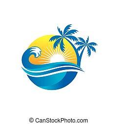 Beach palm with beauty waves Logo