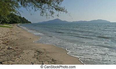 Beach Panning in Slo-Mo 1 - Panning shot of a beautiful...