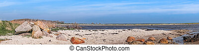 Beach panorama landscape with rocks
