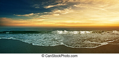 Beach Panorama - Tropical beach sunset panorama