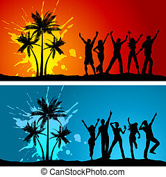 Beach parties - Silhouettes of people dancing on grunge palm...