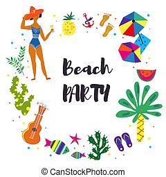 Beach party background illustration
