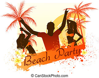 Beach party background with dancing people