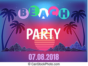 Beach Party Neon Promo Banner in 80s Style