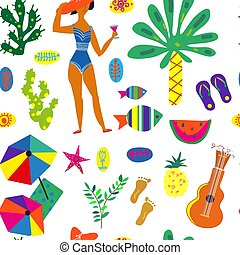Beach party seamless pattern illustration
